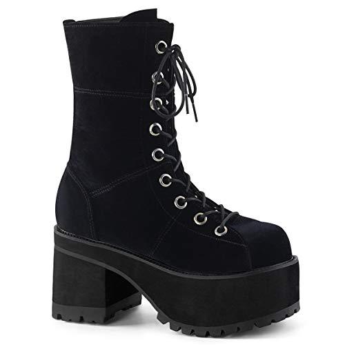 Demonia Women's RANGER-301 Ankle Boot, Black Velvet, 12 M US