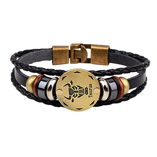 NIHAI 12 Constellations Bracelet for Women Men, Leather Bracelet Personality Wedding Bangle Fashion Jewelry Gifts for You and Your Friends (C) ()