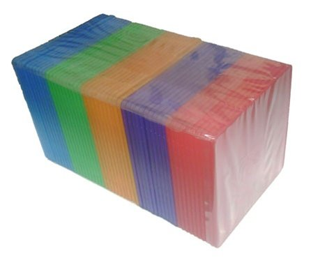 Pp Poly Cd Dvd Case - mediaxpo Brand 100 Slim Assorted Color Single VCD PP Poly Cases 5MM