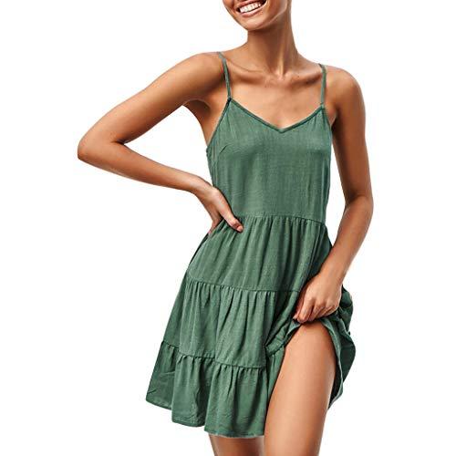 IEasⓄn Women Dress, Summer Women V-Neck Solid Sexy Sling SleevelessTightness Mini Dress Green by IEasⓄn (Image #4)