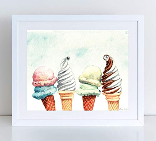 (Ice Cream Cones Scoop and Soft Serve Giclee Art Print Watercolor Painting Wall Home Decor Truck Pool Snack Bar Popsicles Beach House Summer Treats Pastel Preppy Pretty Nursery Gift)