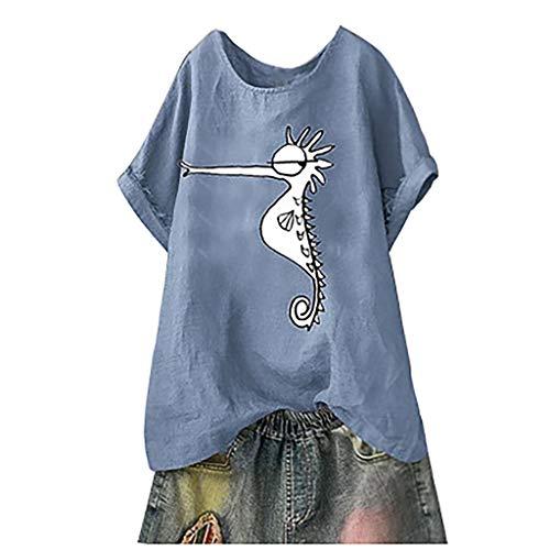 Linen Blouse for Women Summer,SMALLE◕‿◕ Women's Cute Seahorse Tunic Tops Round Collar Linen Tops Short Blouses Blue (Long T-shirt Free Reel Sleeve)