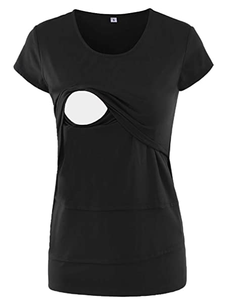 89a5193edd1e6 Jezero Women's Short Sleeve Nursing Tops Irregular Breastfeeding Tunic Black