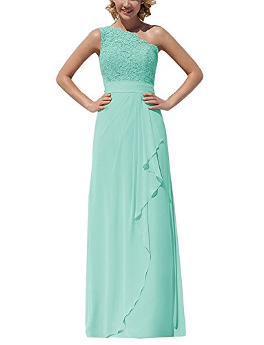 Gown Shoulder ThaliaDress Evening Dress Turquoise One Lace Chiffon Formal T096LF Bridesmaid Long qB7xIzawB