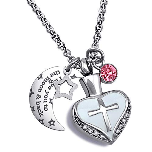 YOUFENG Urn Necklaces for Ashes I Love You to The Moon and Back Cross Necklace Birthstone CZ Keepsake Pendant (October Birthstone urn)