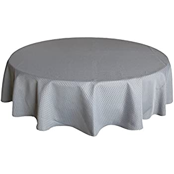 Tablecloth Round Grey 70 Inch,Ufriday Waffle Chekered Decorative Table  Cloths For Round Tables