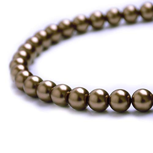 BeadsOne - 10mm - 44 Light Brown Glass Pearl Round Loose Beads with Holes for Handmade Jewelry, Necklaces, Bracelets, Earrings, Crafts, DIY Projects (C13)