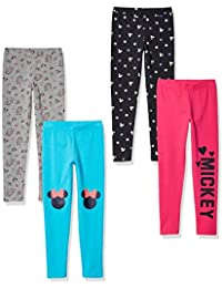 Amazon Brand - Spotted Zebra by Disney - Girls' Toddler & Kids Mickey and Minnie Mouse 4-Pack Leggings