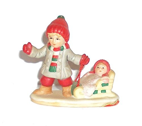1987 Geo Z Lefton 06549 Colonial Village Lisa and Selena Girl Pulling Sled with Baby -