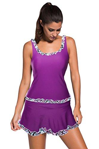Milakoo Womens Tankini Set Purple Ruffle Trim Tank Top Skirted Bottom Swimsuit with Plus Sizes (Tankini It Figures By)