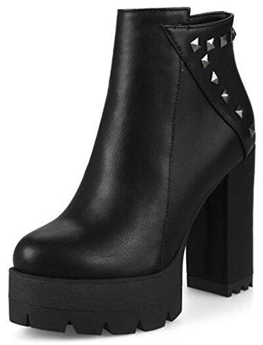 Amazon.com | IDIFU Womens Unique Studded Platform High Chunky Heels Ankle Boots Side Zipper Booties | Ankle & Bootie