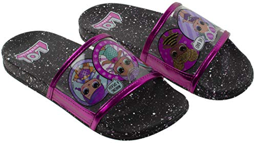 L.O.L Surprise! Girl's Sandal, Mix Match Baby Cat Merbaby Super BB Crystal Queen Cosmic Queen and Queen Bee Slide Sandal, Black Pink, Girls Size 1 for $<!--$16.98-->
