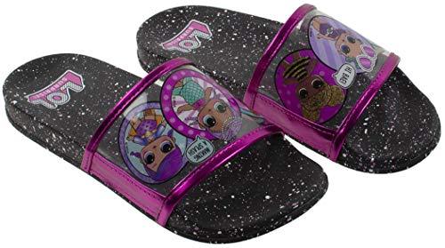 Black Cosmic Socks - L.O.L Surprise! Girl's Sandal, Mix Match Baby Cat Merbaby Super BB Crystal Queen Cosmic Queen and Queen Bee Slide Sandal, Black Pink, Girls Size 2