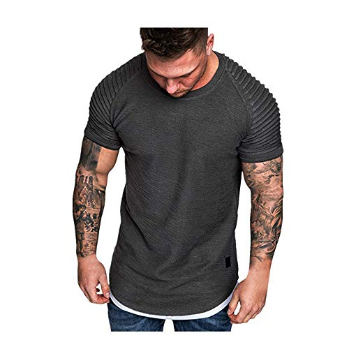 LEXUPA t Shirts for Men Fashion Men's Summer Pleats Slim Fit Raglan Short Sleeve Pattern Top Blouse(Gray,Large)