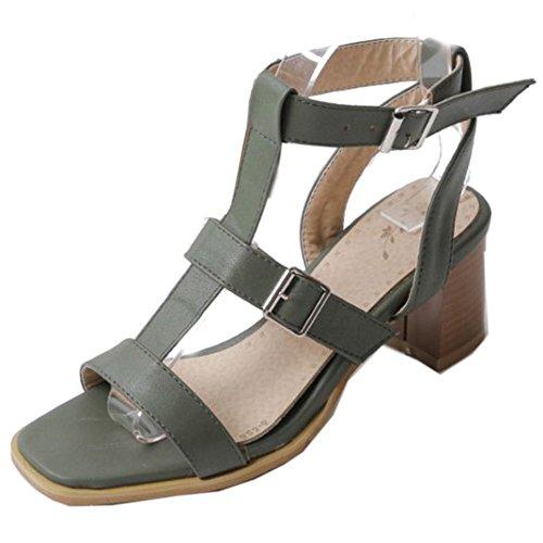 COOLCEPT Zapato Mujer Tacon Ancho alto Punta Abierta Al Tobillo Cutout Sandalias Verde
