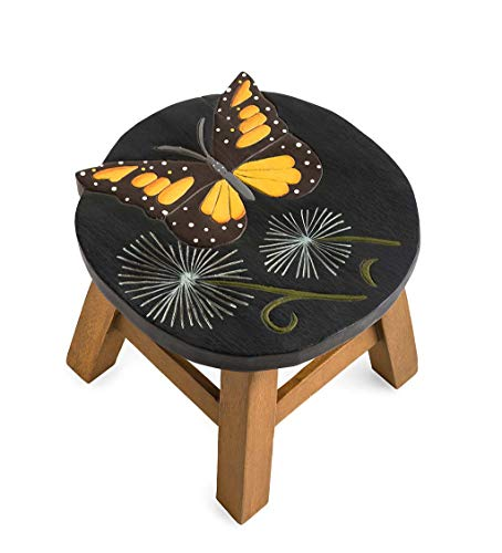 (Plow & Hearth Hand-Carved Wood Butterfly Footstool - 11.5 L x 13.25 W x 10 H)
