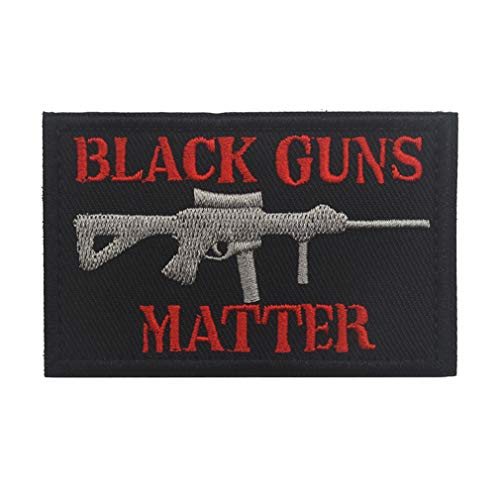 ShowPlus Black Guns Matter Patch Tactical Morale Embroidered Patch (Black Guns Matter # Black & Red)