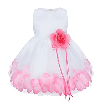 YiZYiF Flower Girl Dress Wedding Birthday Pageant Formal Rose Petal Tutu Dress (18-24 Months, Pink)