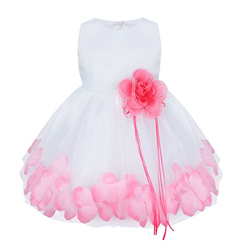 TIAOBU Baby Girls Flower Petals Tulle Formal Bridesmaid Wedding Party Dress (6-9 Months, Pink)