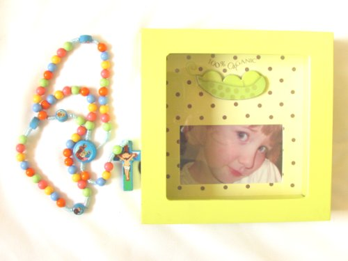 Children Franciscan Knotted Multi Color Rosary Includes a Shadow Box Organic Picture Frame