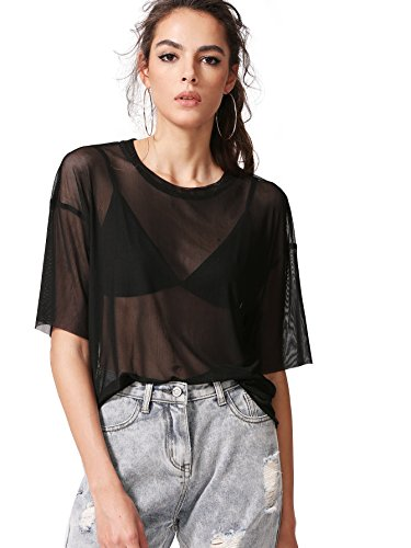 MAKEMECHIC Women's Summer Half Sleeve Tops See Through Mesh Sheer Sexy T-Shirt Blouse Black L