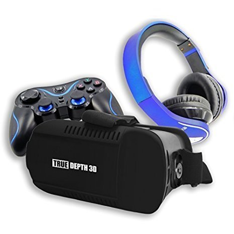 True Depth 3D® VR InfernoTM Ultimate Experience Premium Virtual Reality with Bluetooth Headphones and Bluetooth Game Pad Compatible with 4-6 Inch Android Smartphones