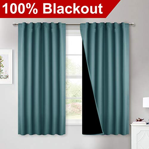 NICETOWN 100% Blackout Curtain Panels, Thermal Insulated Black Liner Curtains for Nursery Room, Cold Blocking Back Tab Drapes for Windows (Set of 2, Sea Teal, 52-inch Wide by 63-inch Long) (Teal Panel Drapes)