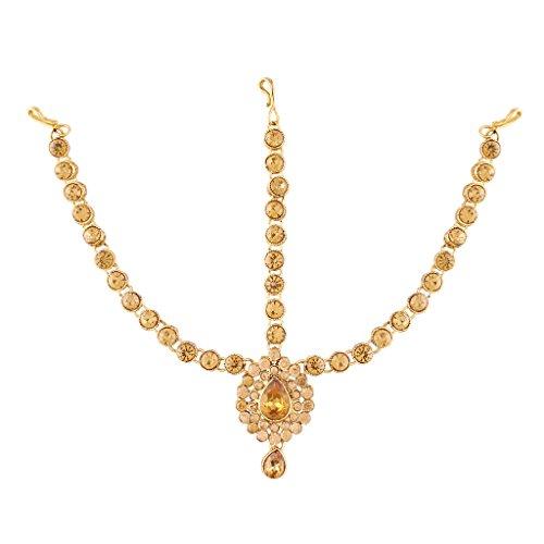 I Jewels Pearl Head Piece/Head Bands/Head Chain/Mathapatti/Maang Tikka for Women from I Jewels