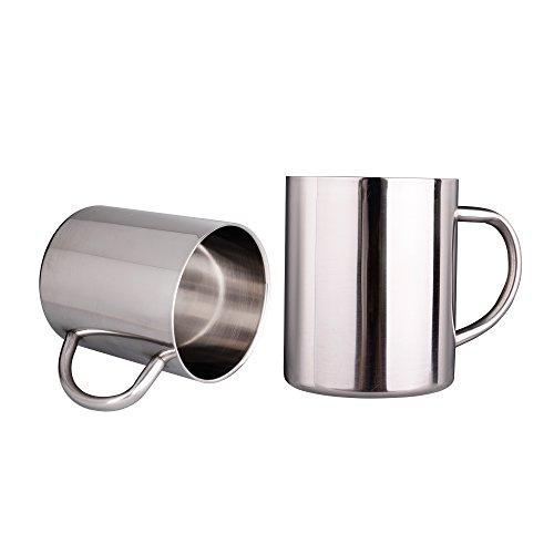 IMEEA 11 Oz (300ml) Brushed Stainless Steel Double Wall Coffee Mugs Tea Cups, Set of 2