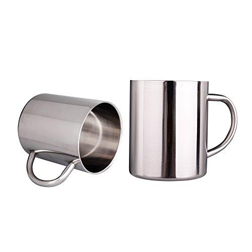 IMEEA 11 Oz (300ml) Brushed Stainless Steel Double Wall Coffee Mugs Tea Cups, Set of 2