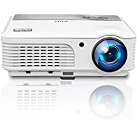 LED Multimedia Movie Gaming Projector - LCD Home Theater Video Projector Dual HDMI USB VGA Support 1080P for TV Laptop Mac iPhone Android Smartphone with Built-in Speaker, Keystone, Free HDMI Cable