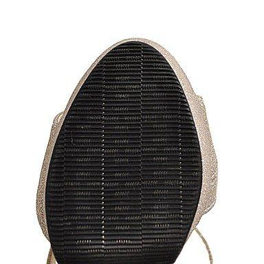 LvYuan Mujer Sandalias Confort Tira en el Tobillo PU Verano Vestido Confort Tira en el Tobillo Lentejuela Dorado Negro Plata 12 cms y Más Silver