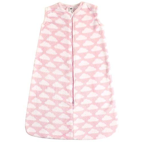 Hudson Baby Unisex Baby Long-Sleeve Plush Sleeping Bag, Sack, Blanket, Pink Clouds Plush, 12-18 Months