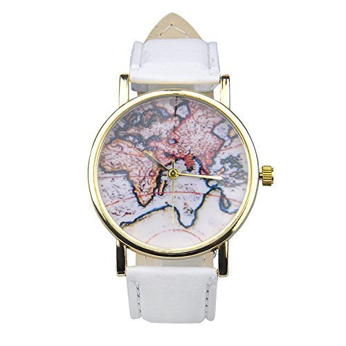 7417ff3f26435 WANGSCANIS® Unisex Men Women Fashion Analog Display Digital Quartz Birthday  Gift Faux Leather Straps World Map Pattern Wrist Watch White  Amazon.co.uk   ...