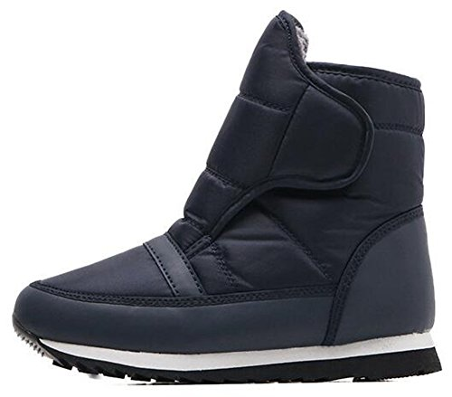 Loop Booties Winter Down Men's Flat and Fleece IDIFU Boots Snow Hook Blue Women's Lined Unisex 8pzOwq