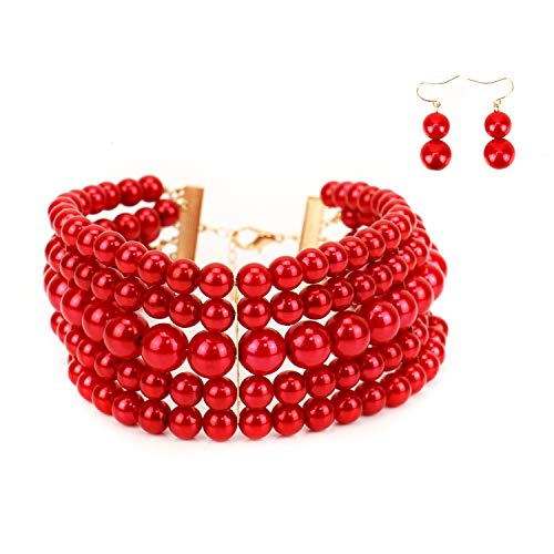 JETEHO Elegant Faux Pearl Choker Necklace Multi Strand Necklaces Simulated Pearl Choker Necklaces Earrings Set for Women (Red)