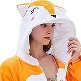 ABENCA Fleece Onesie Pajamas for Women Adult Cartoon Animal Unicorn Christmas Halloween Cosplay Onepiece Costume (S for Height 4'11 to 5'3, C - Fox)