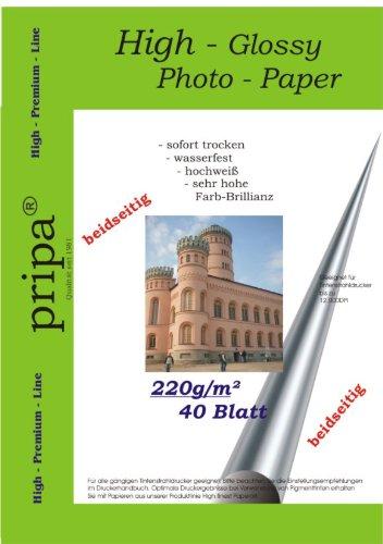 BEIDSEITIG pripa 40 Blatt Fotopapier Photopapier DIN A4 220g/qm - beidseitig glossy (glaenzend) - sofort trocken - wasserfest - hochweiß - sehr hohe Farbbrillianz fuer InkJet Drucker (Tintenstrahldrucker).