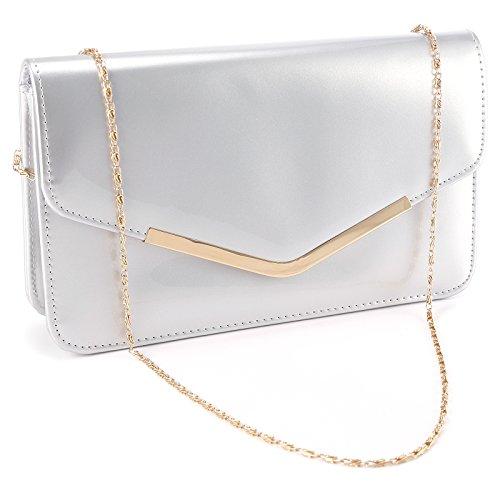 Fraulein38 Womens PU Clutch Bag Envelope Metallic Frame HandBag