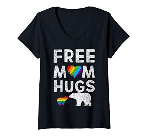- Womens  Free Mom Hugs T Shirt LGBT Bear Pride  V-Neck T-Shirt