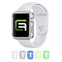 Case Bundle for 38mm Apple Watch / Watch Sport / Watch Edition (Only for Apple watch Series 1) / Including 5 Flexible TPU Cover Cases for all Apple Watch Versions / Including Microfiber Cleaning Cloth