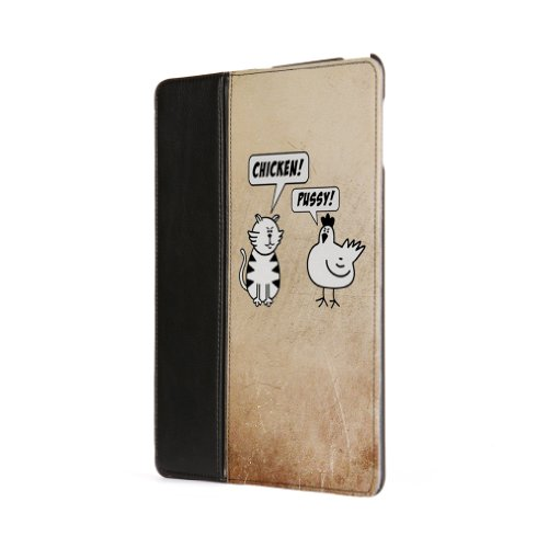 Chicken & Pussy Premium Faux PU Leather Case, Protective Hard Cover Flip Case for Apple® iPad 2 / 3 and iPad 4 by Chargrilled + FREE Crystal Clear Screen Protector
