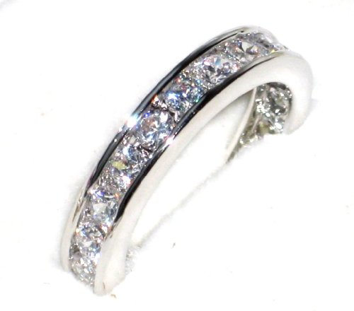 Women's Channel Set STERLING SILVER Ring. Outstanding Quality Eternity Band...
