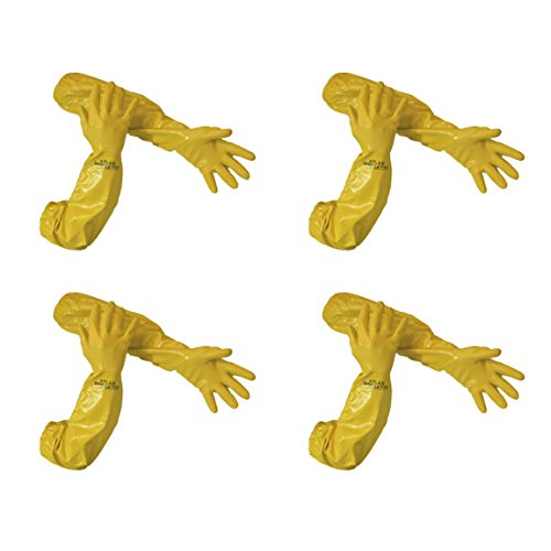 Atlas 772 26-inch Nitrile Medium Elbow Chemical Resistant Yellow Gloves, 4-Pairs by ATLAS (Image #2)