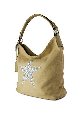 Redfox White Canvas Rhinestone 35x30x14 Sparking Embellished Large Star Shopper Almond cm Bag Shoulder Size Tote Star IB6qIRraw