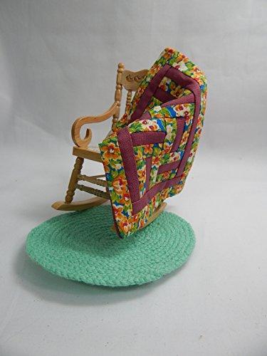 "Doll House Miniature 3"" x 4"" Rocker Rocking Chair w/Rug/Quilt#Z213L from Mini Bear Gems"