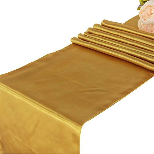 Gold Satin Table Runners - 5 pcs Wedding Banquet Party Event Decoration Table Runners (Gold, 5)