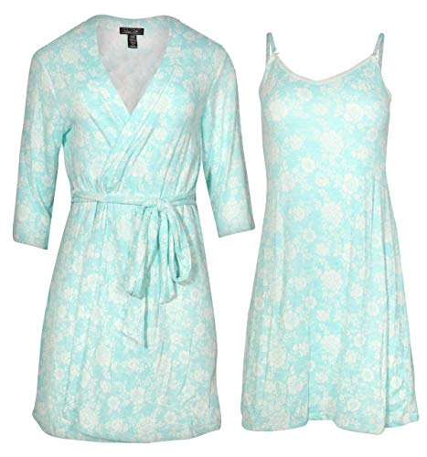 Rene Rofe Womens Hacci Knit and Chemise Nightgown and Robe Set, Light Blue Floral, Size Medium'
