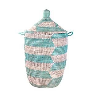 Hand-Woven African Basket Hamper - Aqua - Medium