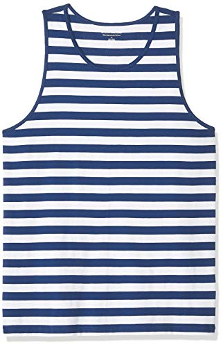 (Amazon Essentials Men's Slim-Fit Ringer Tank Top, Blue/White Stripe, XX-Large)